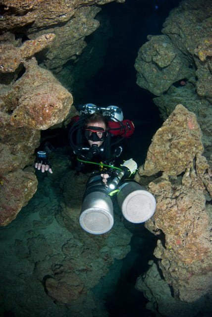 Tec Diver in one of the cracks of the Canyon Dahab